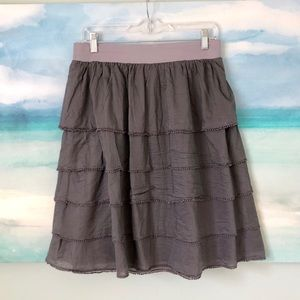 Anthro Edme & Esyllte Tiered Trimmed Skirt Ruffle
